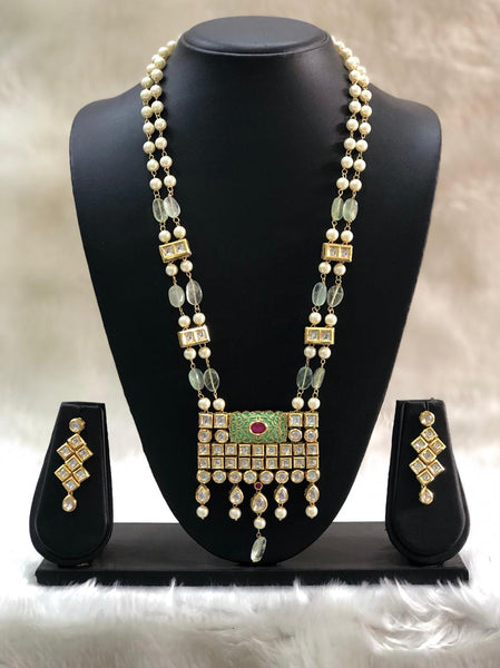 Fabulous Fern Green Gemstones And Kundan Meenakari Necklace Set