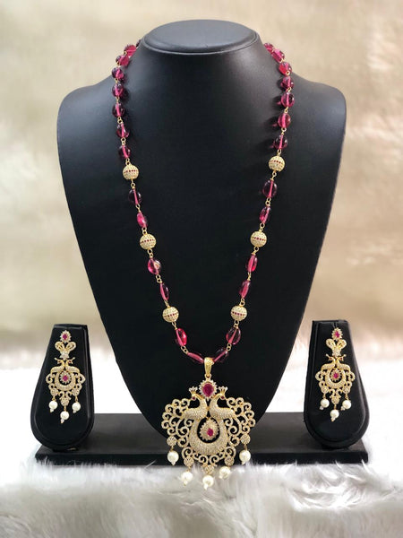 Stunning Golden Crystal Peacock Pendant Necklace Set