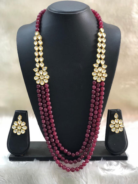 Sparkling Magnetic Maroon Gemstones And Kundan Necklace Set