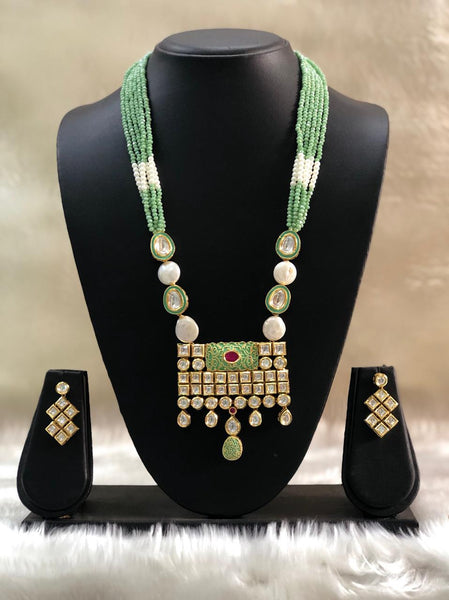 Embellished Green Kundan With Baroque Pearls Necklace Set