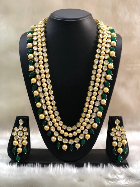 Gorgeous Green Gemstones And Golden Shell Pearl Necklace Set