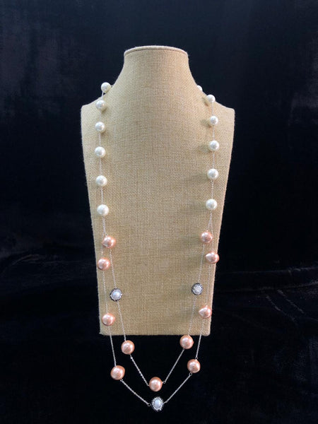 Striking Salmon Pink Shell Pearl And Crystal Necklace