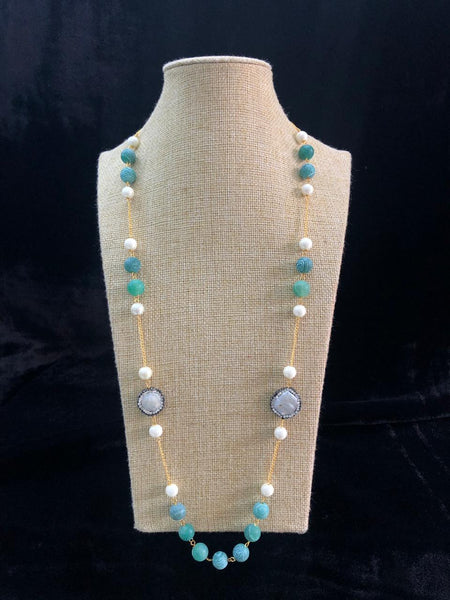 Trendsetting Turquoise Blue Gemstones And Crystal Necklace