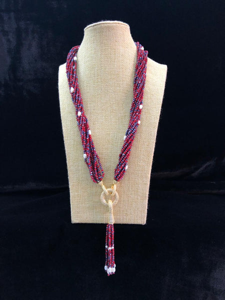 Embellished Red Blue Gemstones With Golden Crystal Tassel Necklace