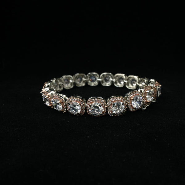 Glorious Rose Gold Squares and Crystal Bracelet