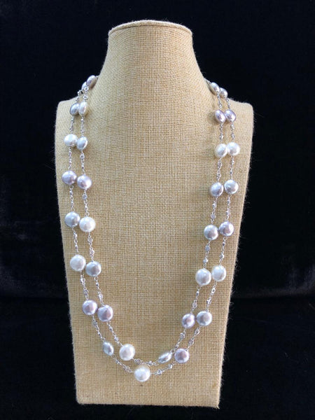 2 Stranded Mauve Shell Pearl Necklace