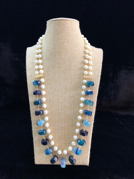 Shades of Blue Gemstones With Golden Shell Pearl Necklace