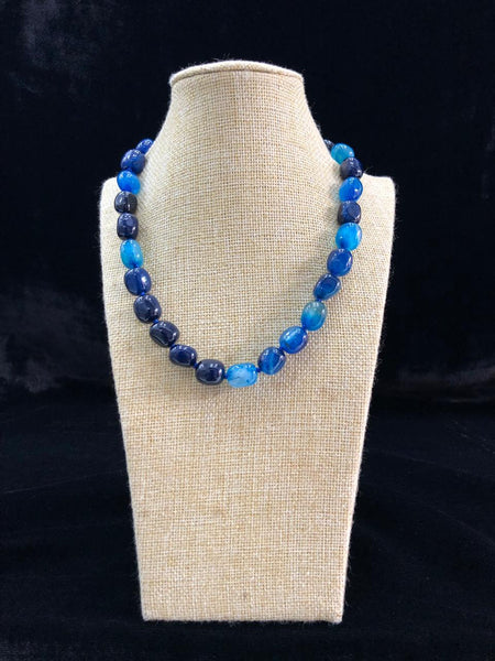 Striking Shades Of Blue Gemstones Necklace