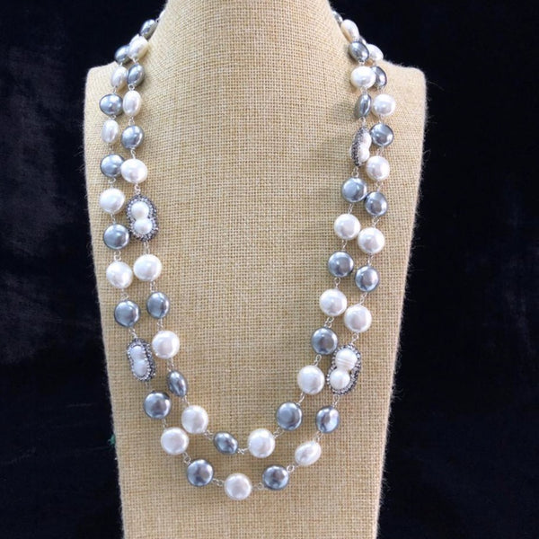 2 Stranded Silver Shell Pearl And Freshwater Pearl Necklace