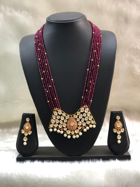 Extravagant Maroon Gemstones With Meenakari Necklace Set