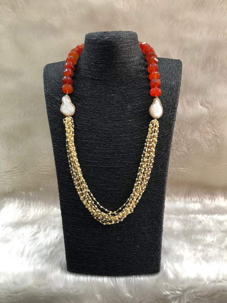 Ornamental Orange Gemstones And Pearls Necklace