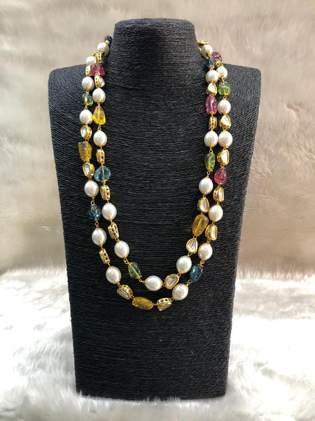 Magnetic Mix Shade Gemstones And Pearls Necklace