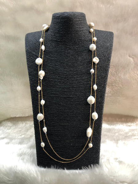 Captivating 2 Stranded Baroque Pearls Necklace