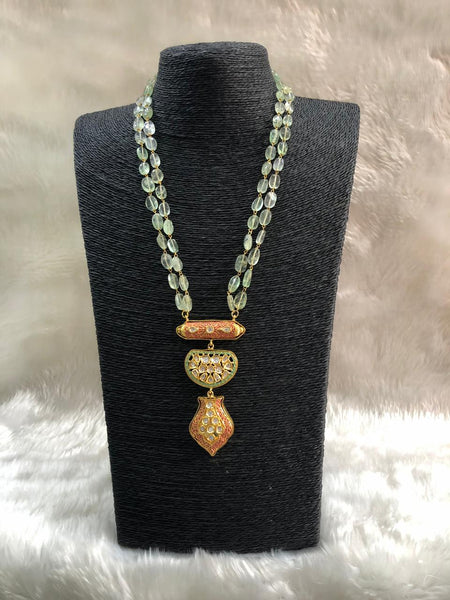 Smashing Sage Green Gemstones And Meenakari Necklace