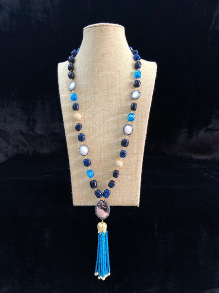 Stylish Shades Of Blue Gemstones Tassels Necklace