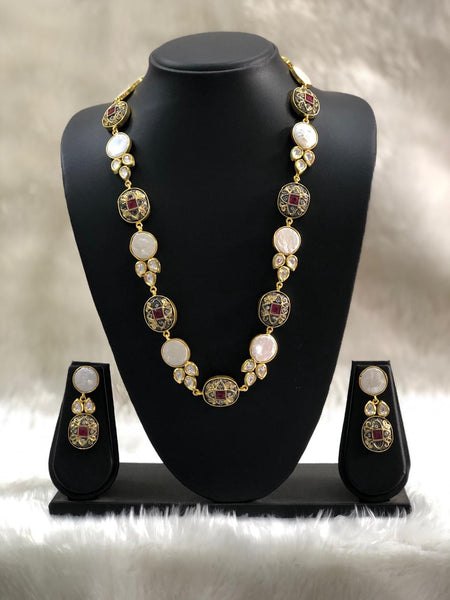 Artisan Fancy Alloy Beads With Pearls Necklace Set