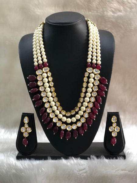 Luxurious Ruby Red Gemstones Kundan and Pearl  Necklace Set