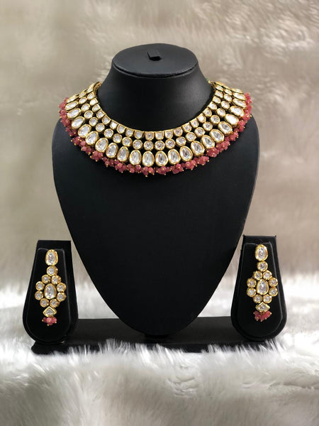 Fabulous Pastel Red Rich Kundan Choker Necklace Set