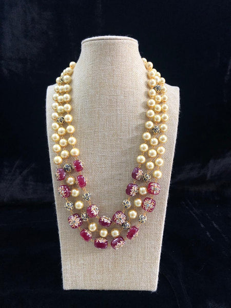 Magnetic Maroon Decorative Beads and Pearl Necklace