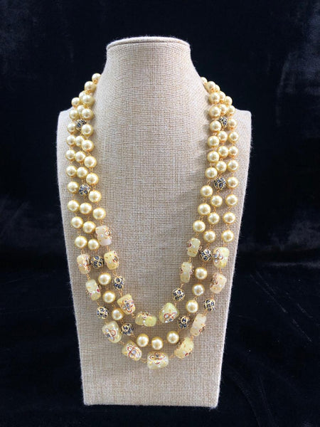 Blonde Yellow Decorative Beads and Pearl Necklace