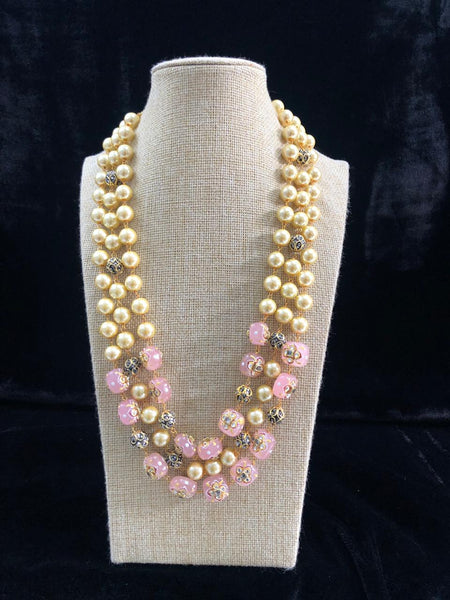 Brilliant Blush Pink Decorative Beads and Pearl Necklace