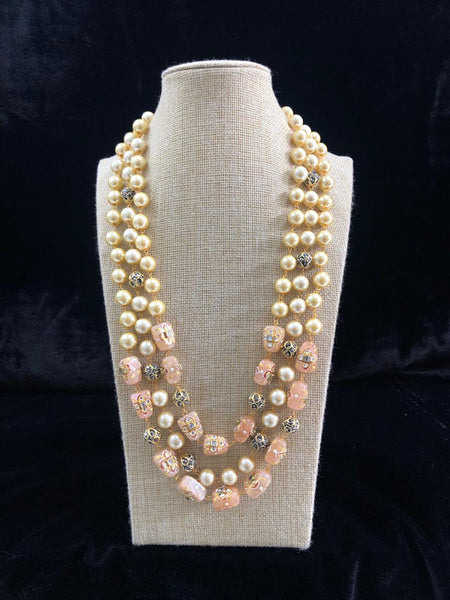 Superb Salmon Pink Decorative Beads and Pearl Necklace