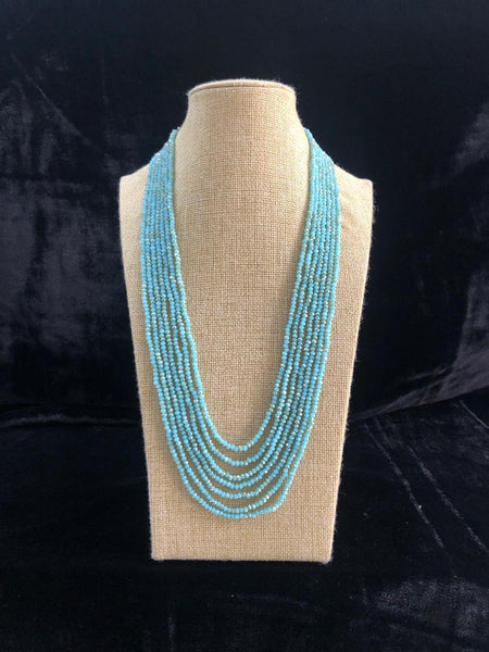 Turquoise Blue Multi-Stranded Crystal Necklace
