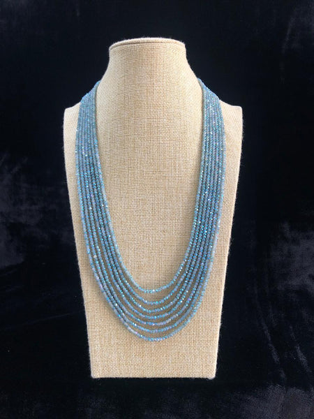 Carolina Blue Multi-Stranded Crystal Necklace