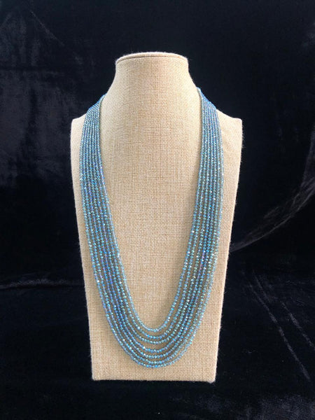 Elegant True Blue Multi-Stranded Crystal Necklace