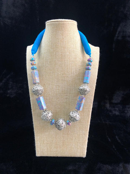 Turquoise Blue Gemstones With Silver Beads And Threaded Necklace