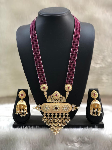 Gigantic Long Maroon Gemstones Pearl And Kundan Necklace Set