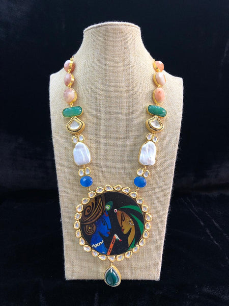 Radha Krishna In Full Moon Pendant And Kundan Temple Necklace