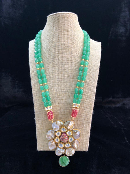 Glorious Green Gemstones Meenakari and MOP Necklace