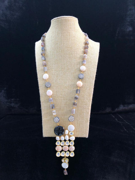 Perfect Porpoise Grey Gemstones And Baroque Pearl Necklace