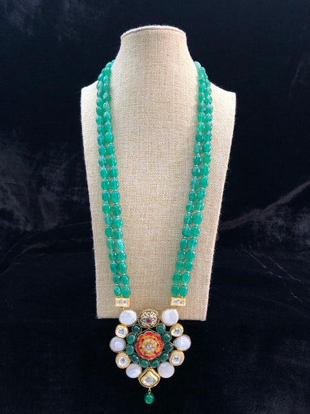 Fabulous Fern Green Gemstones Pearls and Kundan Necklace
