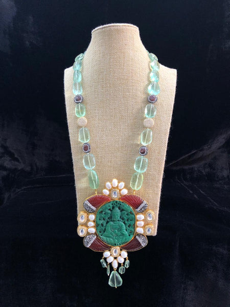 Magnetic Mint Green Gemstones With Lord Buddha Pendant Necklace