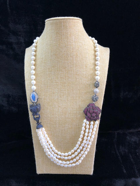 Radiant Purple Rose Pendant with Pearls and Crystal Necklace
