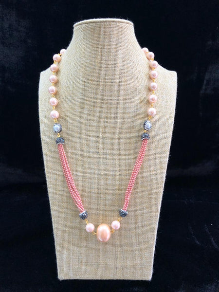 Superb Watermelon Pink Gemstones and Pearl with Crystal Necklace