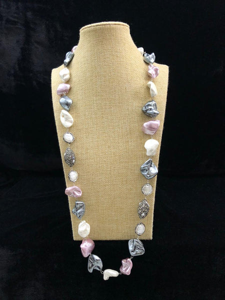 Vintage Mauve and Silver Baroque Pearl Necklace