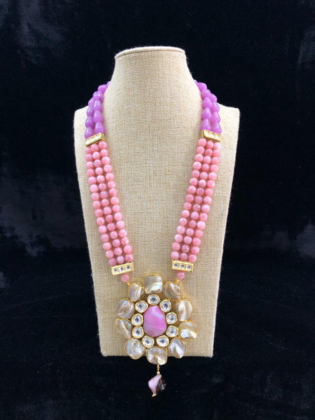 Dramatic Coral Pink Gemstones With MOP And Kundan Necklace