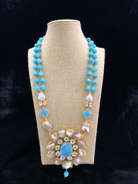 Turquoise Blue Gemstones With Floweret Pendant Necklace