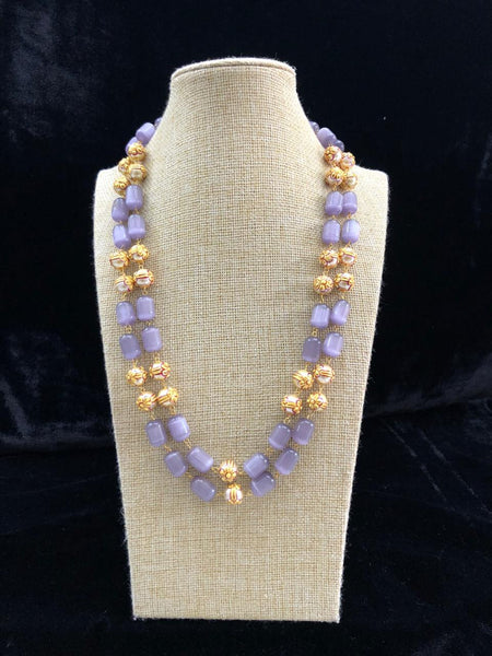 Ornamental Flint Grey Glass Beads With Shell Pearl Necklace