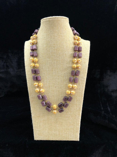Ornamental Eggplant Purple Glass Beads With Shell Pearl Necklace