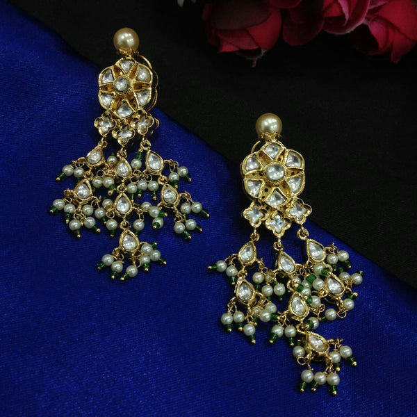 Fabulous Kundan And Seed Beads Long Earrings