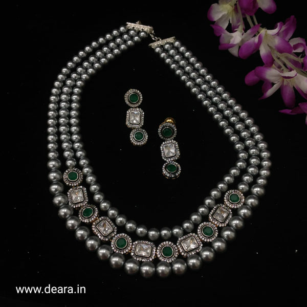 Silver Pearls Emerald Green Necklace Set