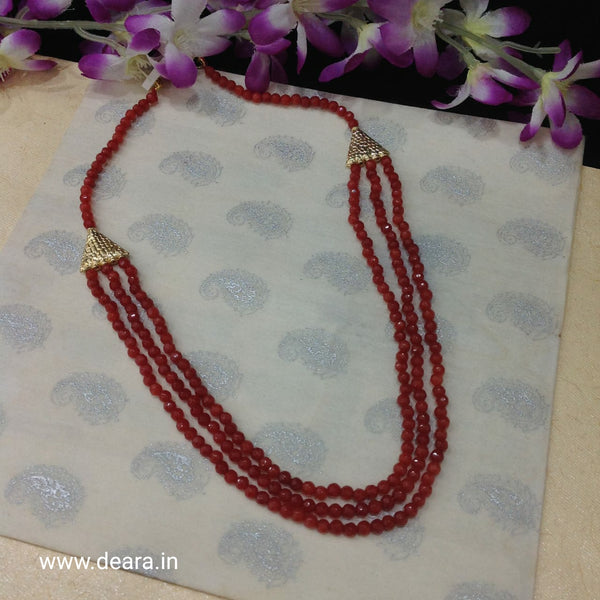 Brick Red Golden Triangle Necklace