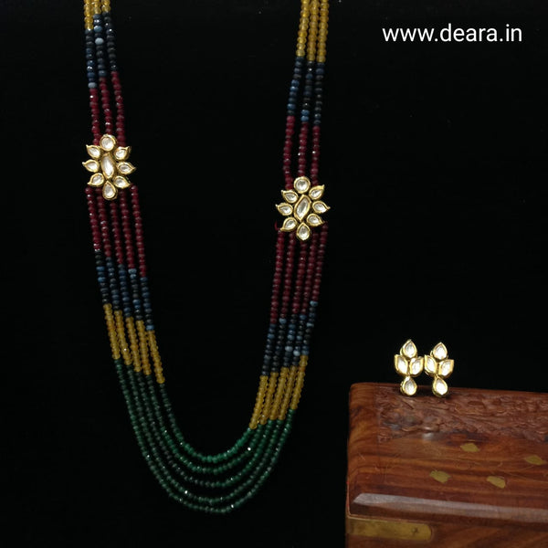 Multicolor Multistranded Kundan Necklace Set