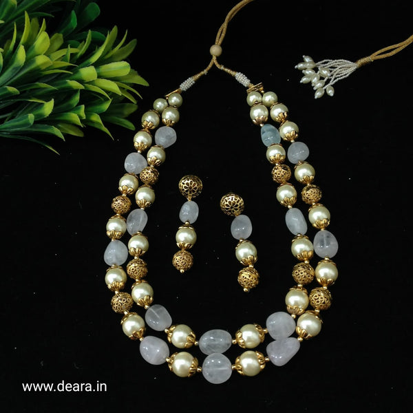 Handcarved Golden Periwinkle Purple Pearls Necklace Set