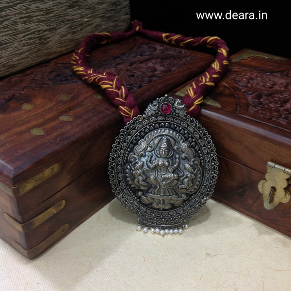Silver Goddess Laxmi Pendant Temple Necklace