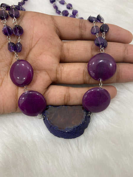 Agate Slice with Coin Amethyst beads